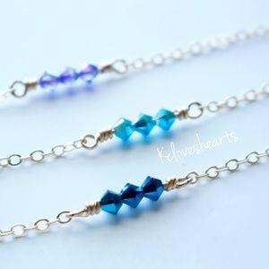 Jewelry - 14k Dainty Triple Swarovski Delicate Bicone Choker
